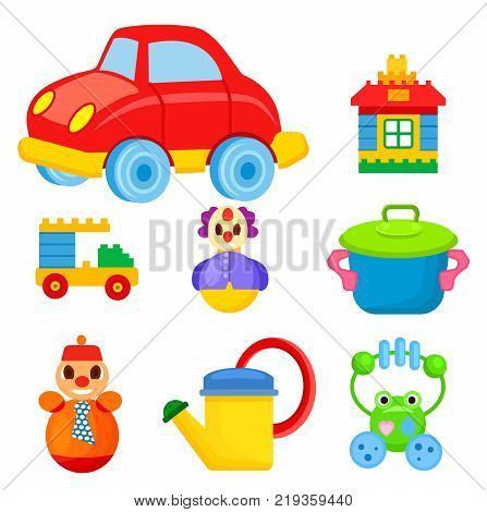 Big red car, toy house, car constructor, funny clown, colorful saucepan, roly-poly in tie, yellow watering can and frog beanbag vector illustrations.