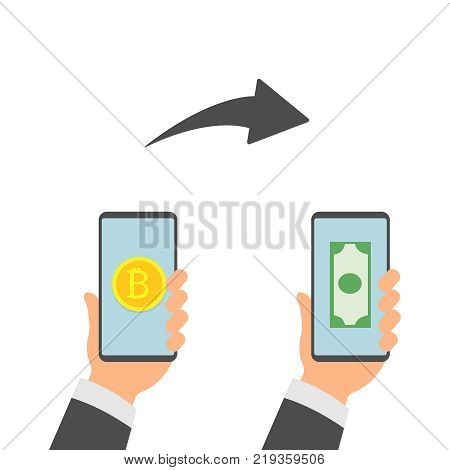 Flat modern design concept of cryptocurrency technology, bitcoin exchange, bitcoin mining, mobile banking. Hand holding mobile phone with bitcoin and dollars in the hand. EPS 10
