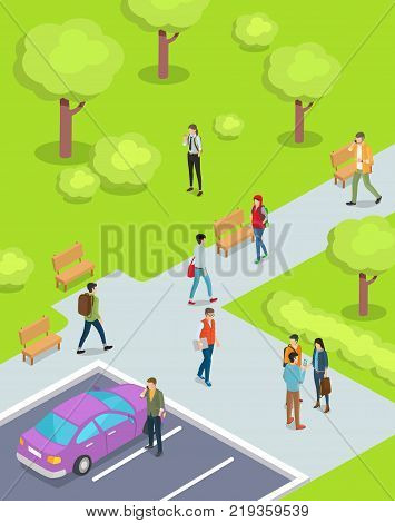 Teenage boys and girls walking in park with lush trees and bushes vector illustration. Cartoon style purple sedan parked in parking lot
