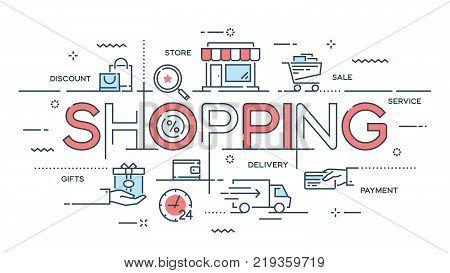 Shopping, e-commerce, retail, sale, delivery service thin line concept. Vector illustration Editable stroke