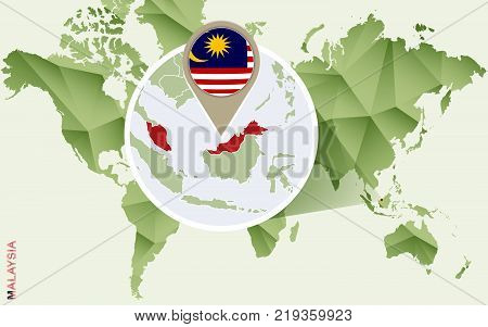 Infographic for Malaysia detailed map of Malaysia with flag. Vector Info graphic green map.