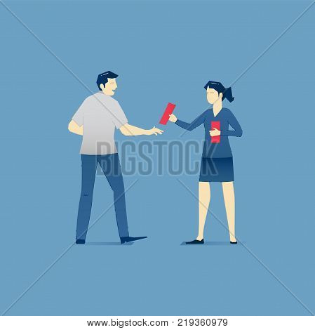 Vector illustration of young promoter woman giving a man promotion leaflet. Vector concept for banners, infographics or landing pages of website