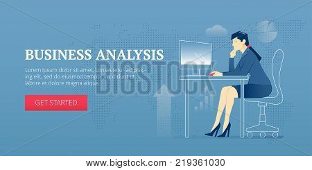 Vector banner template of business woman sitting at the office desk with computer monitor and analysing. Vector concept for internet banners, social media banners, headers of websites and more