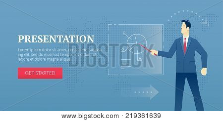 Vector banner template of businessman character in business suit pointing at a chart banner. Vector concept for internet banners, social media banners, headers of websites and more