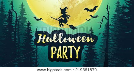 Vector stock Halloween party poster banner with big yellow moon and dark forest with bats and flying witch in the sky. 31 November night background with full moon. Flyer or invitation template.