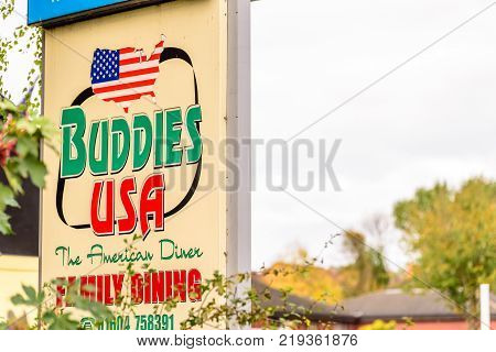 Northampton UK October 29, 2017: Buddies USA Restaurant logo sign in Sixfields Retail Park.