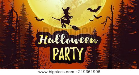Vector stock Halloween party poster banner with big full moon and dark forest with bats and flying witch in the orange sky. 31 November scary night background  Flyer or invitation template.
