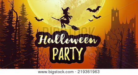 Vector stock Halloween party poster banner with big full moon and dark forest and castle with bats and flying witch in the orange sky. 31 November scary night background  Flyer or invitation template.