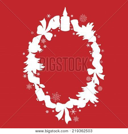 Frame in the shape of an oval with sillhouettes of Christmas objects and snowflakes