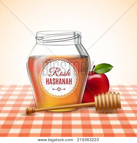Design elements for Rosh Hashanah Jewish New Year with traditional realistic apple and honey. Shana tova poster. Vector illustration. EPS 10