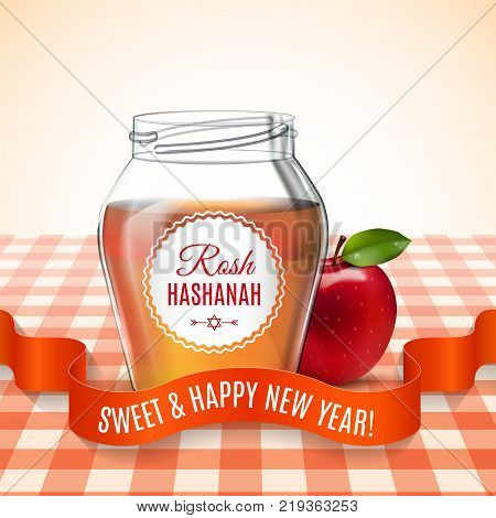 Rosh Hashanah holiday. Background with honey and apple on the table. Shana tova poster. Vector illustration. EPS 10