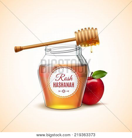 Rosh Hashanah holiday.  Shana Tova Jewish Happy New Year isolated icon of honey and apple. Vector illustration. EPS 10