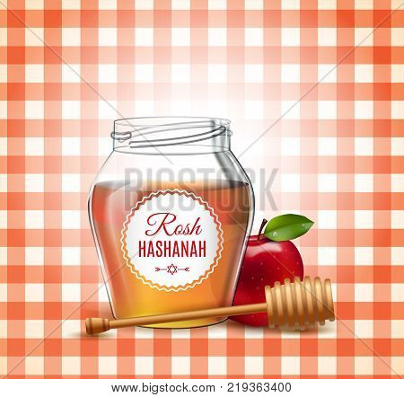 Rosh Hashanah holiday. Sweet and happy new year. Background with honey and apple on the tablecloth. Shana tova poster and set icon. Vector illustration. EPS 10