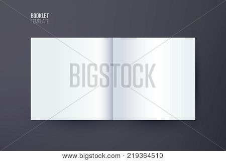 Booklet template. Vector booklet spread mock up isolated on dark background