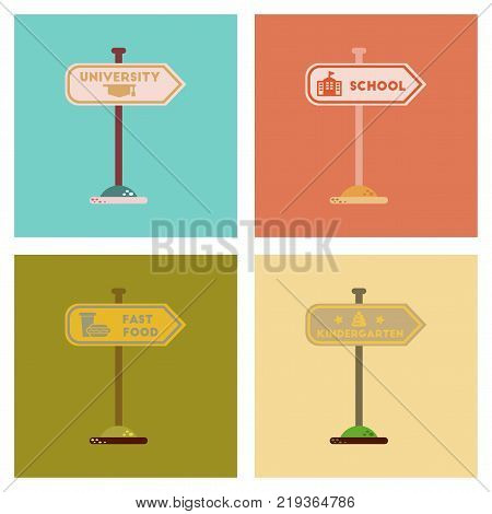 assembly of flat icons University kindergarten school fast food sign