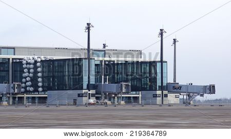 BERLIN, GERMANY - JAN 17th, 2015: Berlin Brandenburg Airport BER, still under construction, empty terminal building, architecture tour.