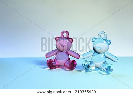 Newborns, Family, Childhood Concept. Toy Bears. Baby Twins Concept.Baby Twins Background with A Lot Of Copy-Space for Text.Image of a teddy bear. Toys Background.