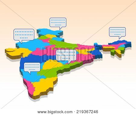 illustration of detailed 3d map of India, Asia with all states and country boundary