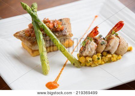 High end cuisine fish fillet pan fried