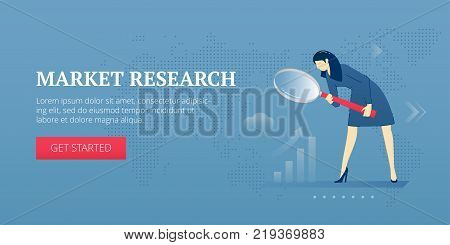Vector banner template of business woman looking through magnifying glass doing market research. Vector concept for internet banners, social media banners, headers of websites and more