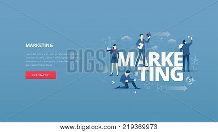 Vector illustrative hero banner of marketing. Marketing hero website header with men and women business characters around words 'marketing' over digital world map
