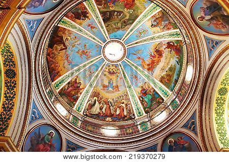 HAIFA, ISRAEL - SEPTEMBER 18, 2017: The Dome interior of the Stella Maris Monastery or the Monastery of Our Lady of Mount Carmel in Haifa. The monastery belongs to the Order of the Barefoot Carmelites of the 19th century