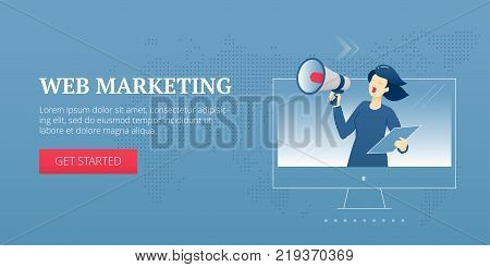 Vector banner template of business woman with loudspeaker shouts out from a computer screen. Vector concept for internet banners, social media banners, headers of websites and more