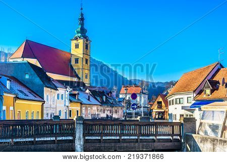 Scenic view at old architecture in tourist resort of Samobor town, Croatia Europe.