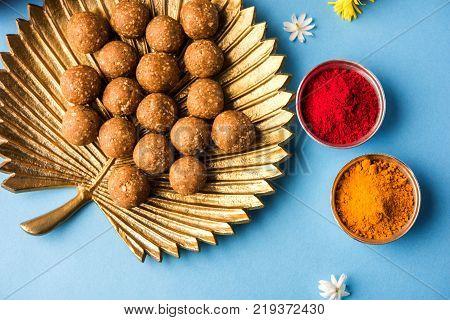 Tilgul or Til Gul with haldi Kumkum for makar sankranti festival