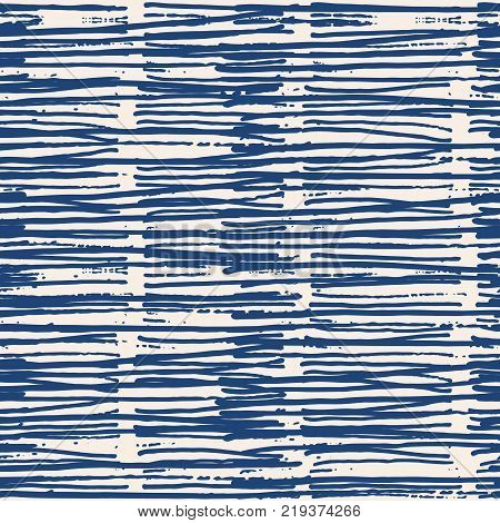 Endless watercolor texture vector. Indigo tie dye seamless pattern. Natural tiles. Japan cotton background. Batik bed vector texture. China hand dyeing white cotton background. Hippie fabric with grid