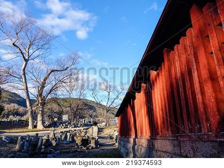 Wooden hall of Zenkoji Temple in Nagano Japan. Zenko-ji is one of the most important and popular temples in Japan.