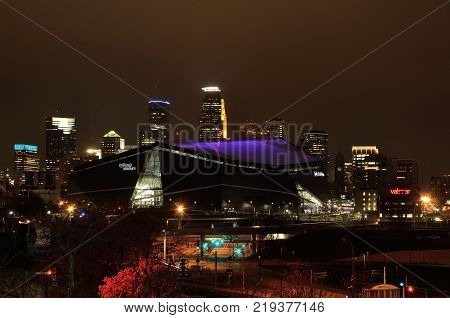 MINNEAPOLIS MN USA - February 6 2017: Minnesota Vikings US Bank Stadium in Minneapolis at Night site of Super Bowl LII (52)