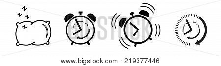 Sleep and wake up Icon set alarm clock, pillow, ringing alarm clock, clock deadline. Wake up or get up concept. Time sign isolated on white background in flat style