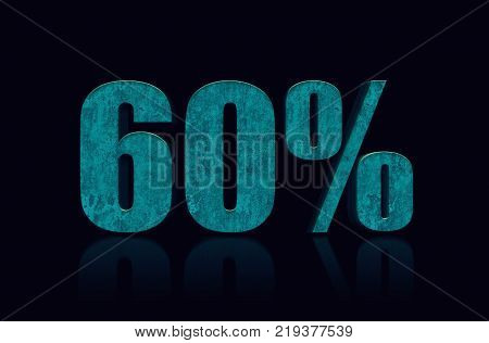 60% text 3D. 60 percent off. Discount 60%. 3D Illustration stock.