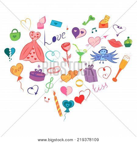 Colorful Hand Drawn Set of Valentine's Day Symbols. Children's Funny Doodle Drawings of Hearts Gifts Rings Balloons Arranged in a shape of Heart. Vector Illustration.