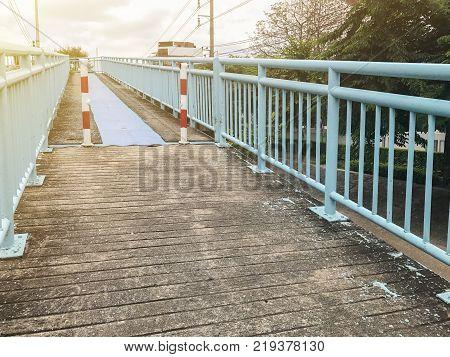 ramp for disabled people of the footbridge