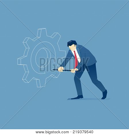 Vector illustration of businessman character in suit twirling a big business gearwheel. Vector concept for banners, infographics or landing pages of website