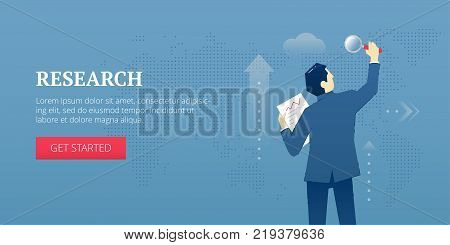 Vector banner template of businessman in business suit looking through magnifying glass and researching. Vector concept for internet banners, social media banners, headers of websites and more