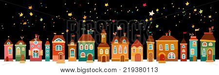 Night cute city. Christmas vintage card with the urban landscape