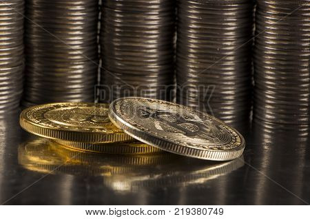 Golden bitcoin with money coins background. Bit coin cryptocurrency banking money transfer business technology
