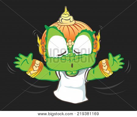 Casting magic doing ritual or magic acting Thai giant cartoon character vector design background isolate has clipping paths.