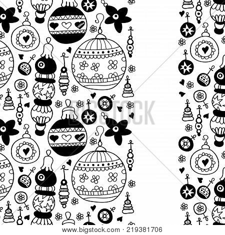 Christmas ornaments card with black balls. Invitation background