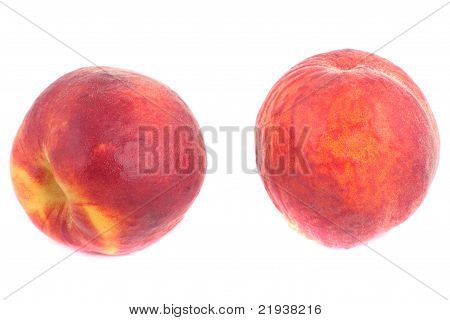 Two Sweet Peaches With Water Drops