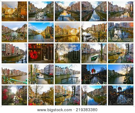 The collage from images of of Amsterdam canal and bridge with typical dutch houses, boats and bicycles, Holland, Netherlands. Collage