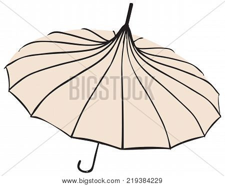 Old fashionable Umbrella - Parasol. The pagoda shape.