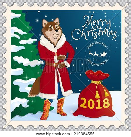 Postage stamp with a dog dressed as Santa Claus. Symbol of the New Year of 2018 and Christmas, according to the Eastern calendar. On a transparent background. With Christmas fir in the background. Vector illustration