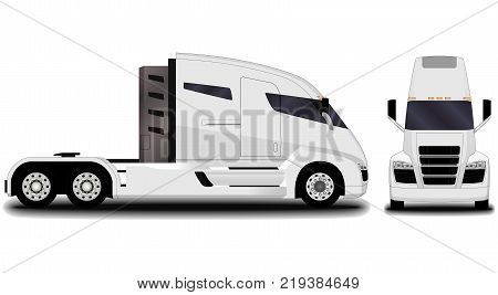 futuristic electric truck. front view; side view.