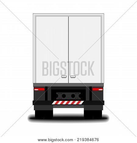 futuristic electric truck. back view. big white truck