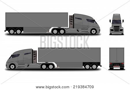 futuristic electric truck. front view; side view; back view.