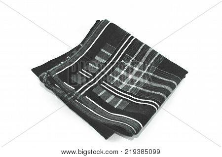 Black Scott Handkerchief isolated on white background.